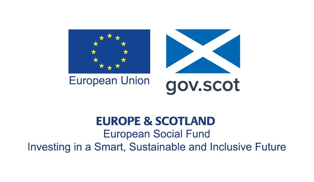 European Union and Scottish flags. European Social Fund. Investing in a smart, sustainable and inclusive future.